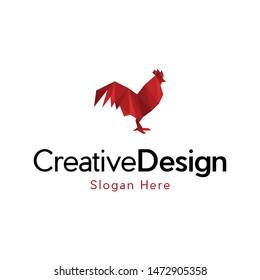 Red Rooster Origami Logo Design
