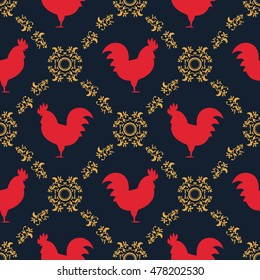 Red rooster seamless pattern. Symbol of 2017 year. Red rooster texture with gold floral ornament. Chinese New Year of the Rooster card. Oriental happy new year illustration.