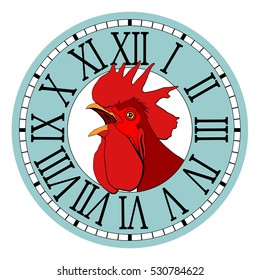Red rooster, symbol of 2017 in the watch dial