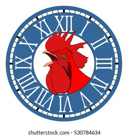 Red rooster, symbol of 2017 in the watch dial.