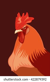 Red rooster/Vector portrait of fire rooster