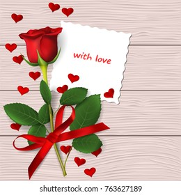 Red rose with red bow on wooden background. Valentine's day greeting card. Vector illustration