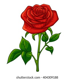 Red rose cartoon style, vector art and illustration.