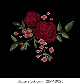 red rose embroidery vector design