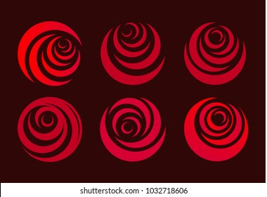 Red rose, flower abstract stylized petal. Circle shape, roses logo set. Love symbol.