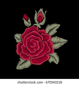 Red rose. Flower. Embroidery.