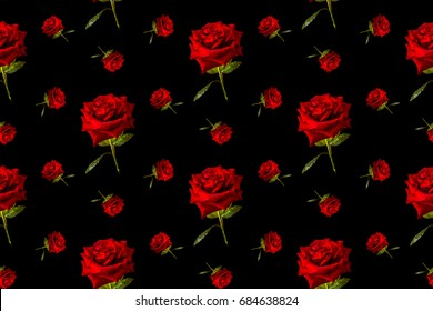 Red rose with green leaves .    Vector  design.  Modern illustration for background greeting cards and invitations of the  birthday, Valentine's Day, Mother's Day and wedding.  Seamless pattern