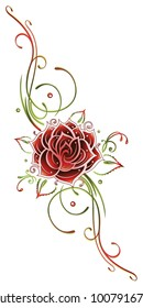 Red rose with leaves and filigree Tribal Ornament.