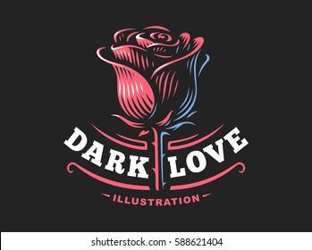 Red rose logo - vector illustration, emblem design on dark background.