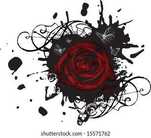 Red rose on grunge splotched background