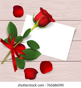 Red rose and rose petals on wooden background. Greeting card for Valentine's day, women's day, mother's day, birthday. Top view with space for your text. Vector illustration