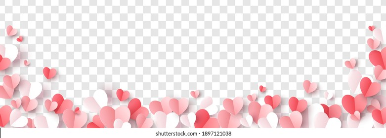 Red, rose pink and white hearts border isolated on transparent background. Vector illustration. Paper cut decorations for Valentine's day design - Shutterstock ID 1897121038