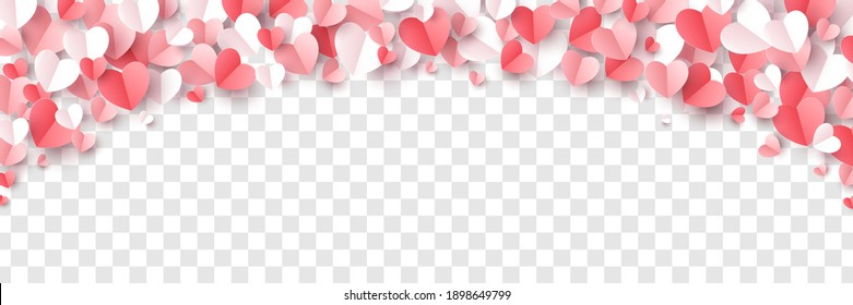 Red, rose pink and white hearts border isolated on transparent background. Vector illustration. Paper cut decorations for Valentine's day design - Shutterstock ID 1898649799