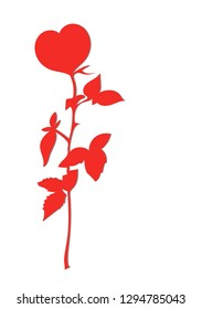 Red rose in the shape of a heart with shadow on white background.