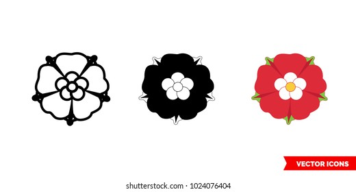 Red rose symbol of england icon of 3 types: color, black and white, outline. Isolated vector sign symbol.