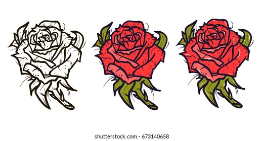 Red rose tattoo vector set on white background. cartoon style