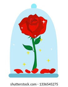 Red rose vector illustration. Le petit prince