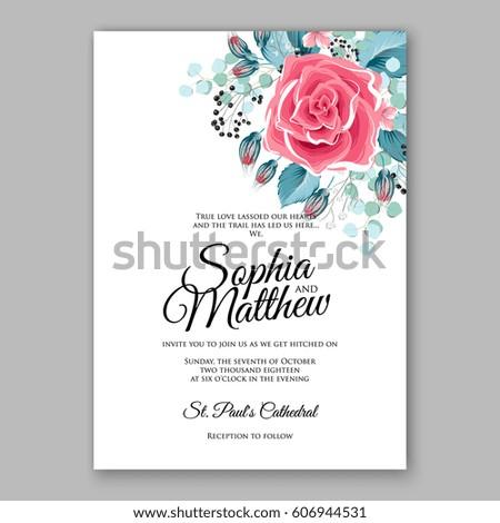 Red Rose Wedding Invitation Card Bridal Stock Vector (Royalty Free ...