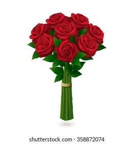 Red roses bouquet isolated on white background. Vector illustration.