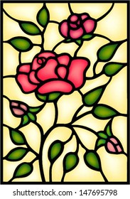 Red roses and bouton. Stained glass window .