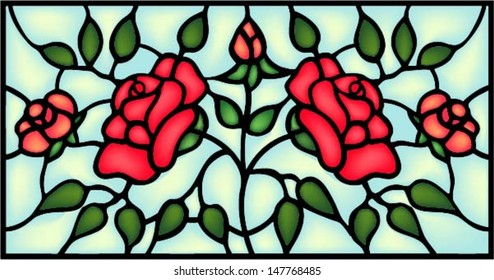 Red roses and bouton, symmetric composition. Stained glass window