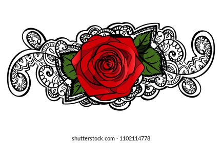 red roses contour line art doodle ornament element design, black and white indian mehndi tatoo elements. isolated on white