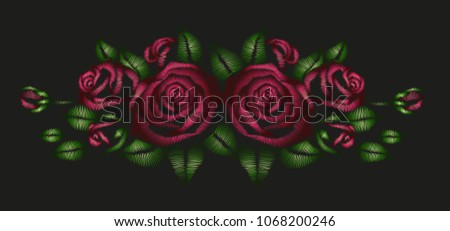 Red roses embroidered zigzag stitching vector stock vector