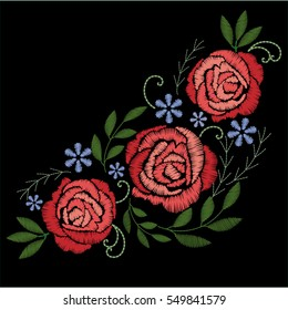 Red roses embroidery on black background. Bouquet of flowers.