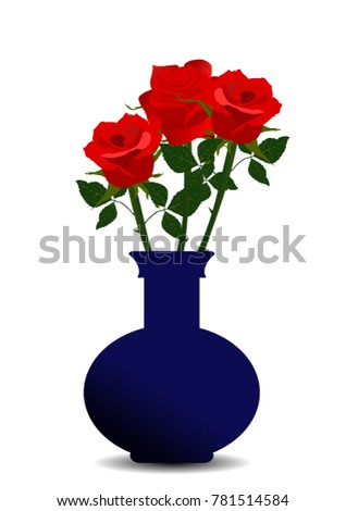 Red Roses Green Leaves Blue Vase Stock Vector Royalty Free