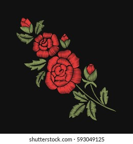 Red roses and green leaves. Embroidery. Bouquet of flowers.