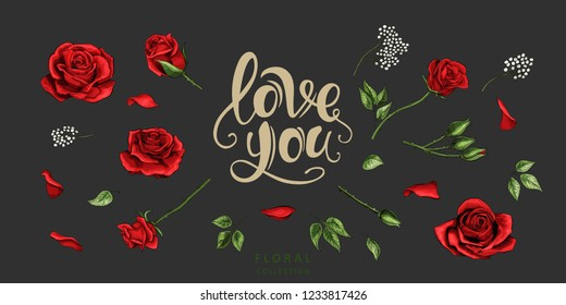 Red roses hand drawn color set. Black line rose flowers isolated on dark background. Vector colored elements illustration for happy Valentines day postcards.
