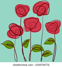 Red roses. Hand-drawn stylized flowers. Drawn in one line Roses. Flowers in line art style. Tattoo Rose. Beautiful delicate roses.