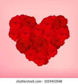Red roses in heart shape arrangement vector illustration. Wedding and Valentine's Day Decoration.
