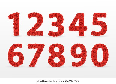 Red Roses numbers. Check my portfolio for roses letters.