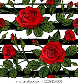 red roses pattern seamless stripes with green leafs black and white lines, vector repeat tile