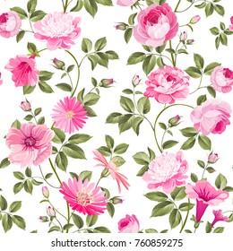 Red roses pattern for wallpaper design. Retro floral seamless pattern. Vector illustration.