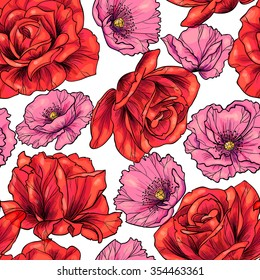 Red roses and pink poppies.Vector seamless pattern