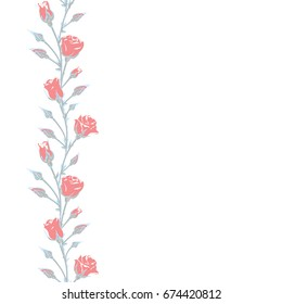 Red roses. Vertical floral pattern. Buds. background. Wedding ornament.