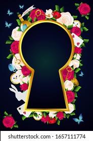 赤いバラと白いバラ、時計と鍵、白いうさぎ、ポーション、茶と蝶。不思議の国の背景。バラの花の枠と金の鍵穴。ベクターイラスト