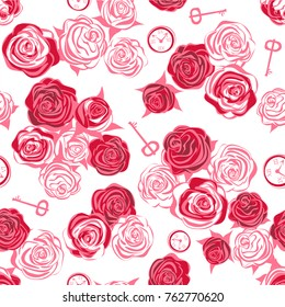 Red roses and white roses, key and clock on white background. Seamless pattern. Alice in Wonderland background, wallpaper. Vector illustration