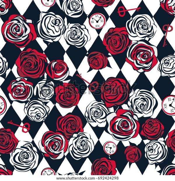 チェスの背景に赤いバラと白いバラ、鍵と時計。シームレスなパターン。不思議の国の背景にアリス、壁紙。ベクターイラスト