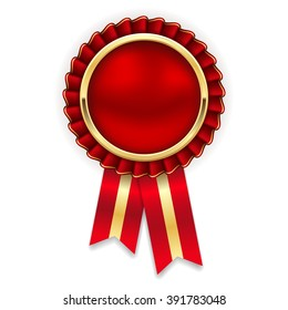 Red rosette, badge with gold border and ribbon on white background