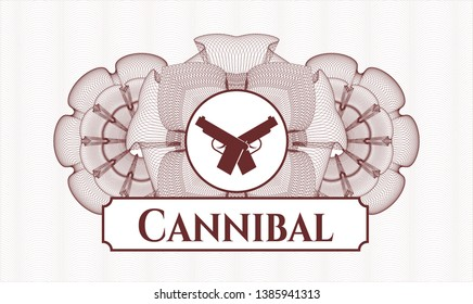 Red rosette. Linear Illustration. with crossed pistols icon and Cannibal text inside