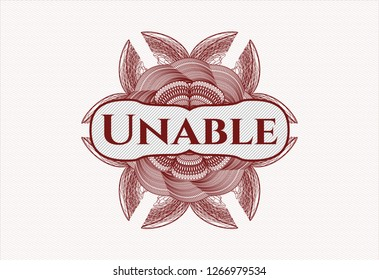 Red rosette. Linear Illustration with text Unable inside