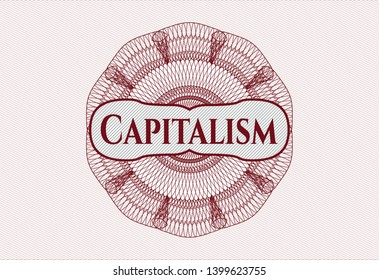 Red rosette. Linear Illustration with text Capitalism inside