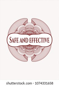 Red rosette (money style emblem) with text Safe and effective inside