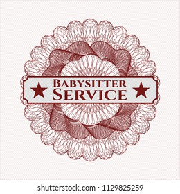 Red rosette or money style emblem with text Babysitter Service inside