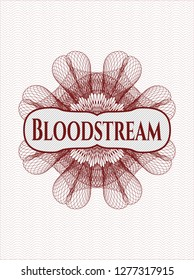Red rosette or money style emblem with text Bloodstream inside