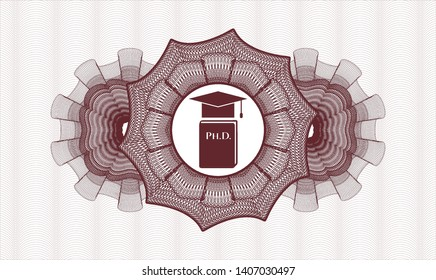 Red rosette or money style emblem with Phd thesis icon inside