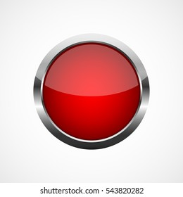Red round button with a metal frame. Vector illustration. Round button isolated on white background.